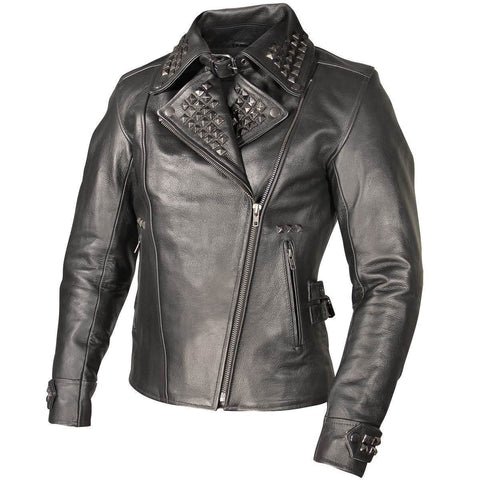 Xelement XS783 Women's Black Leather Punk Studded Jacket