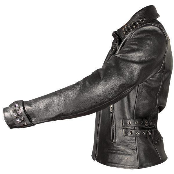 Xelement Women's Black Leather Punk Studded Jacket