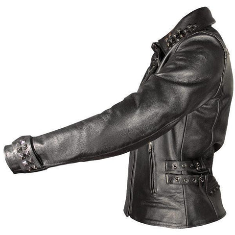 Image of Xelement Women's Black Leather Punk Studded Jacket
