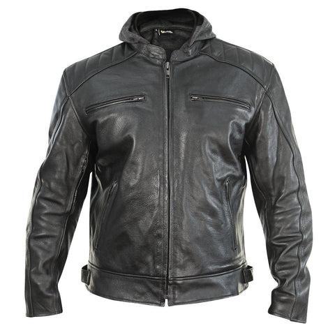 Xelement XS913 'Throttle Boss' Men's Black Leather Jacket