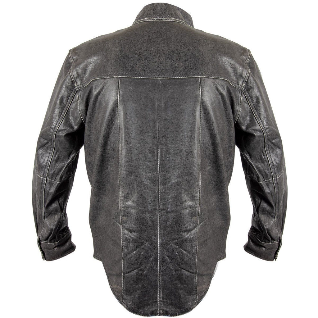 Xelement XS-921G Men's Distress Dark Gray Vintage Style Leather Shirt with Buffalo Buttons