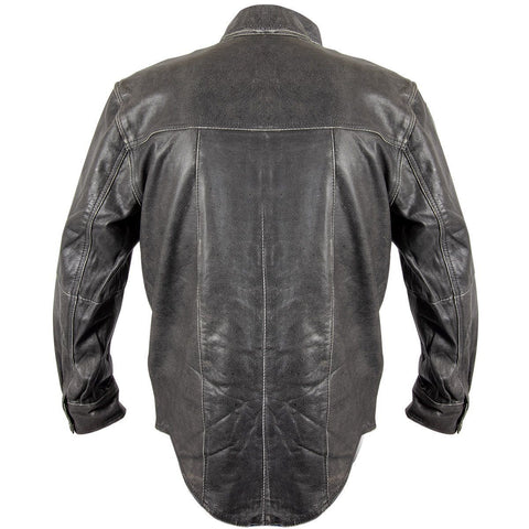 Image of Xelement XS-921G Men's Distress Dark Gray Vintage Style Leather Shirt with Buffalo Buttons