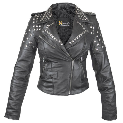 Xelement XSB932 'Rebel' Women's Black Studded Leather Jacket