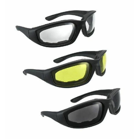 3 Pair Motorcycle Riding Glasses in Smoke, Clear & Yellow