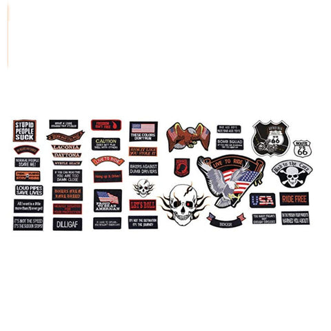Image of 42pc Embroidered Motorcycle Patch Set