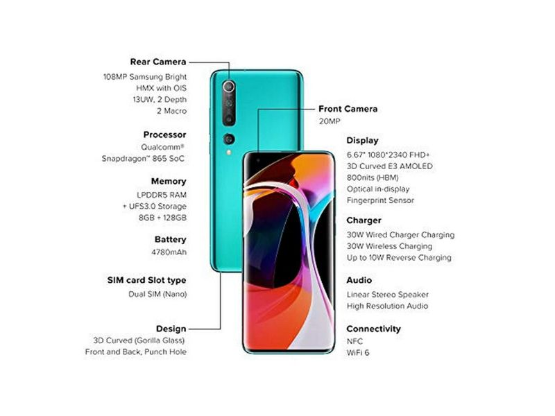 Mi 10 5G + BAND 4 (8GB +256GB) Coral Green