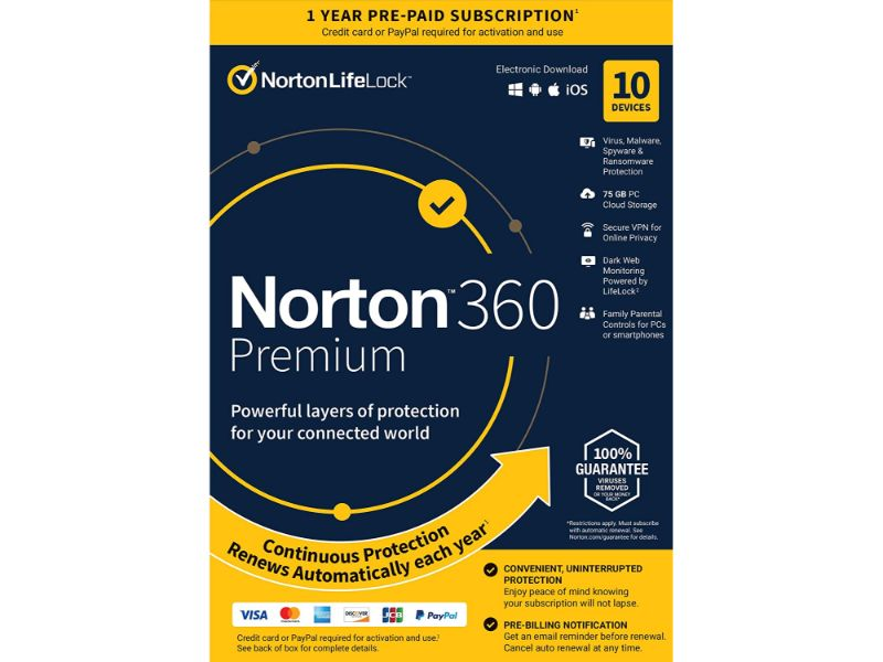 Norton 360 Deluxe 75 GB - 10 Device A-21405122