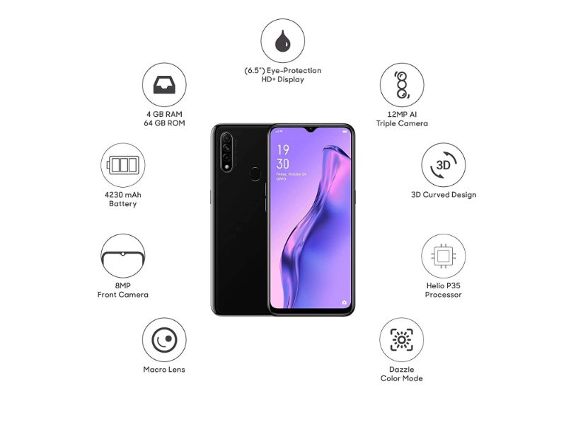 OPPO A31 - (4GB + 128GB) AI Triple Camera | Mystery Black