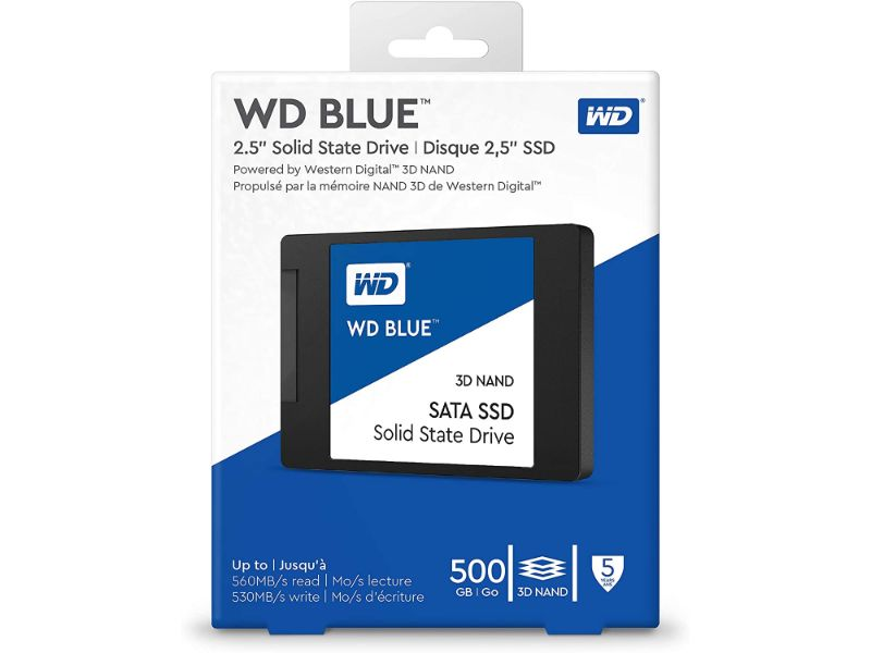 "Western Digital 500GB WD Blue 3D NAND Internal PC SSD - SATA III 6 Gb/s, 2.5""/7mm, Up to 560 MB/s - WDS500G2B0A"