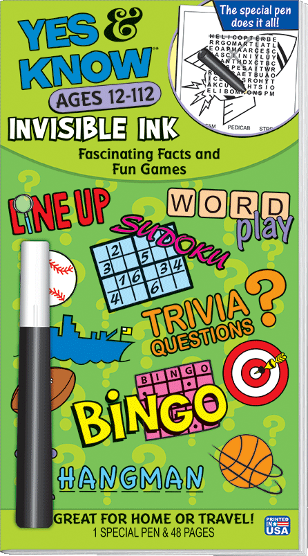 LEE Invisible Ink Yes /& Know Book Ages 7 Invisible Ink Pen For Answer 48 Pages