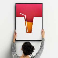 Cocktails One Kitchen Wall Art Prints Dining Room Home Décor Poster Minimalistic Paper Cut Art Black