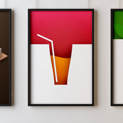 Cocktails One Kitchen Wall Art Prints Dining Room Home Décor Poster Minimalistic Paper Cut Art