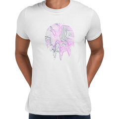3D Vapor wave abstract liquid Fluid Sphere  Surreal Unique Design White T-shirt