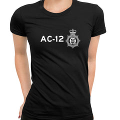 AC-12 Printed BBC TV Series 6 T-Shirt Inspired By Police Logo T-shirt for Women Black
