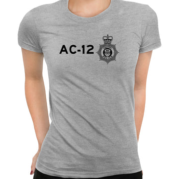 AC-12 Printed BBC TV Series 6 T-Shirt Inspired By Police Logo T-shirt for Women Grey
