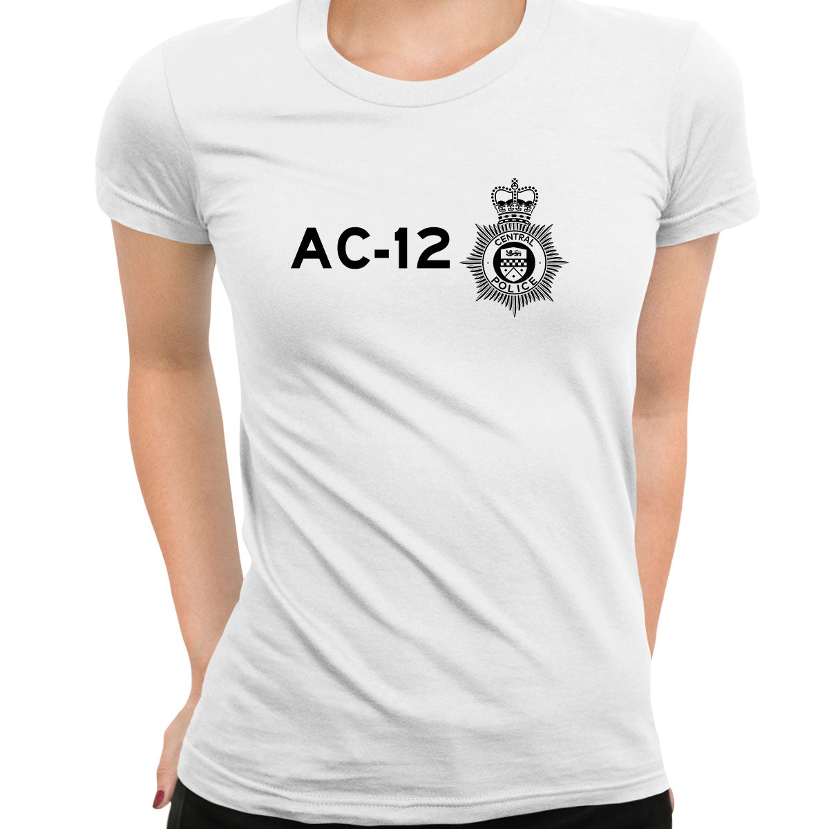 AC-12 Printed BBC TV Series 6 T-Shirt Inspired By Police Logo T-shirt for Women White