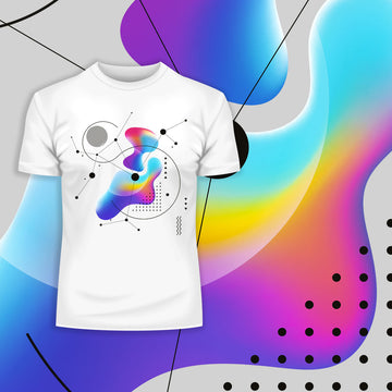 Abstract Colorful Gradient Mesh & Geometric Line Art Drawing T-Shirt