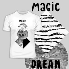 100% Eco T-shirt - Abstract geometry shapes with watercolor & grunge - Magic Dream