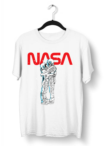 NASA Imagine Love Is In The Air Astronauts Floating in the Space Black T-Shirt
