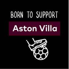 Women Born to Support For Aston-Villa Football Club Ladies Eco Crew Neck Black T-Shirt