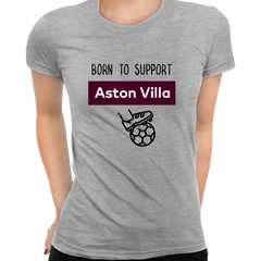 Women Born to Support For Aston-Villa Football Club Ladies Eco Crew Neck Grey T-Shirt