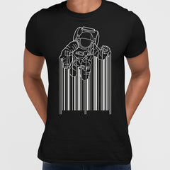 Astronaut with barcode black T-Shirt