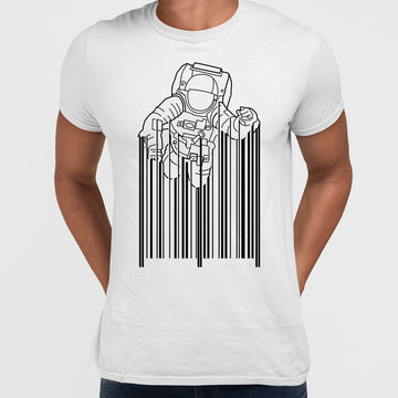 Astronaut with barcode T-Shirt Black & White t-shirt design