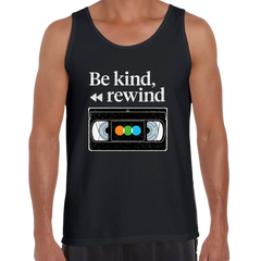 VHS Cassette Retro Black Tank Top Be Kind Rewind Old Video Cassette tape Scotch, Fuji Grunding