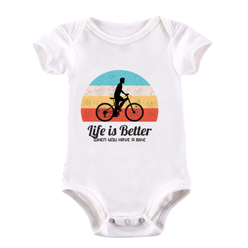 Cycling Life is better when you have a Bike Bicycle Racer Road Baby & Toddler Body Suit Black
