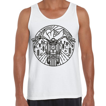 Biker Motorcycle Nature Adventure Minimal Art Drawing Tank Top