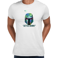 Boba Fett Settle Down Famous Star Wars character quote Unisex Male White T-shirt