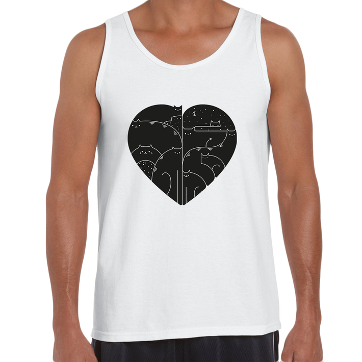 CUTE Cats Lovers Minimal Heart Shape Animal White Tank Top