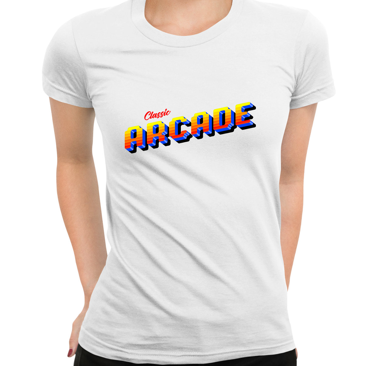 Classic Arcade Vintage Sign Retro 80's Style Crew Neck White t shirt