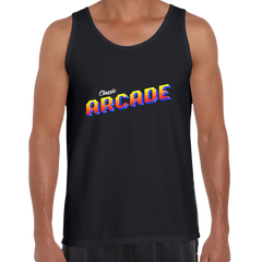 Vintage Arcade Sign Retro 80's Style Crew Neck Black Tank Top