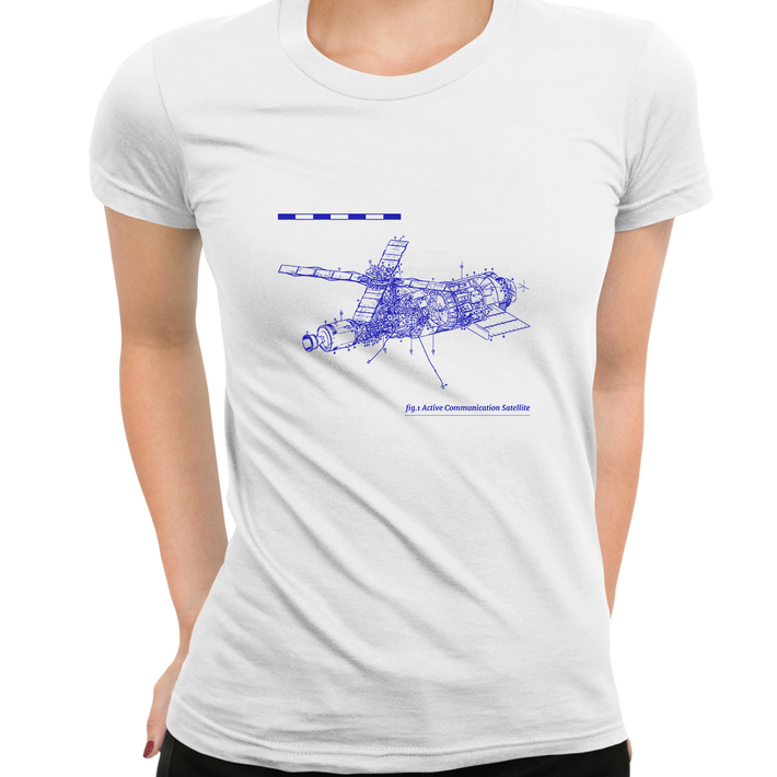 Short Sleeve Comunication Satelite Blue Print Women White T Shirt