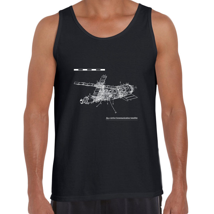 Short Sleeve Comunication Satelite Blue Print Unisex Black Tank Top