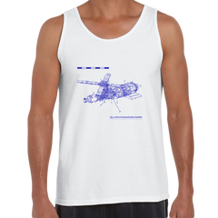 Short Sleeve Comunication Satelite Blue Print Unisex White Tank Top