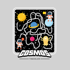 Cosmos Traveler Retro 8Bit Game Space shooter Unisex White T-shirt