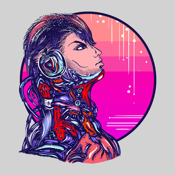 Cyberpunk Art Robot With headphones Biomechanical soldier Unisex Black t-shirt