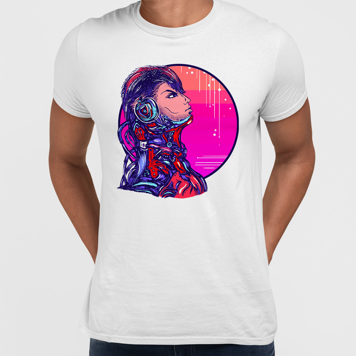 Cyberpunk Art Robot With headphones Biomechanical soldier Unisex White t-shirt