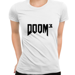 DOOM 3 Retro 3D Shooting Game Master Slayer White T-shirts for Women