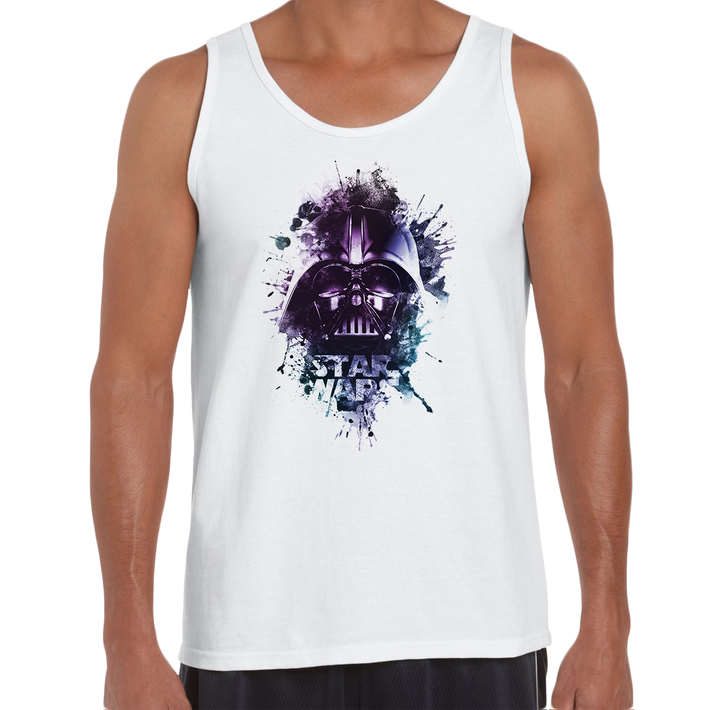 Darth Vader Artistic Helmet Watercolour Splash Star Wars Movie White Tank Top