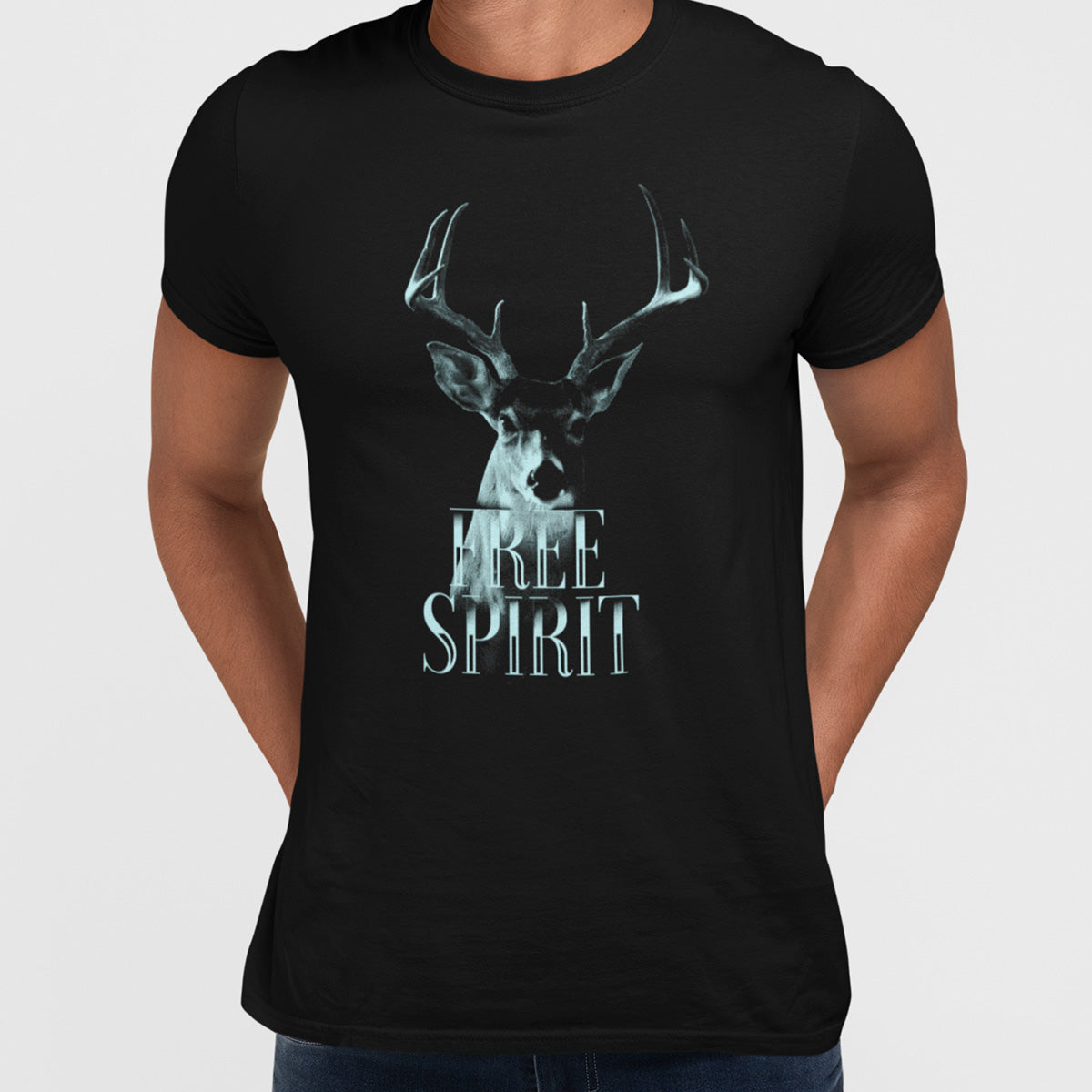 Deer A stag with attitude - Halftone Animal Free Spirit T-Shirt