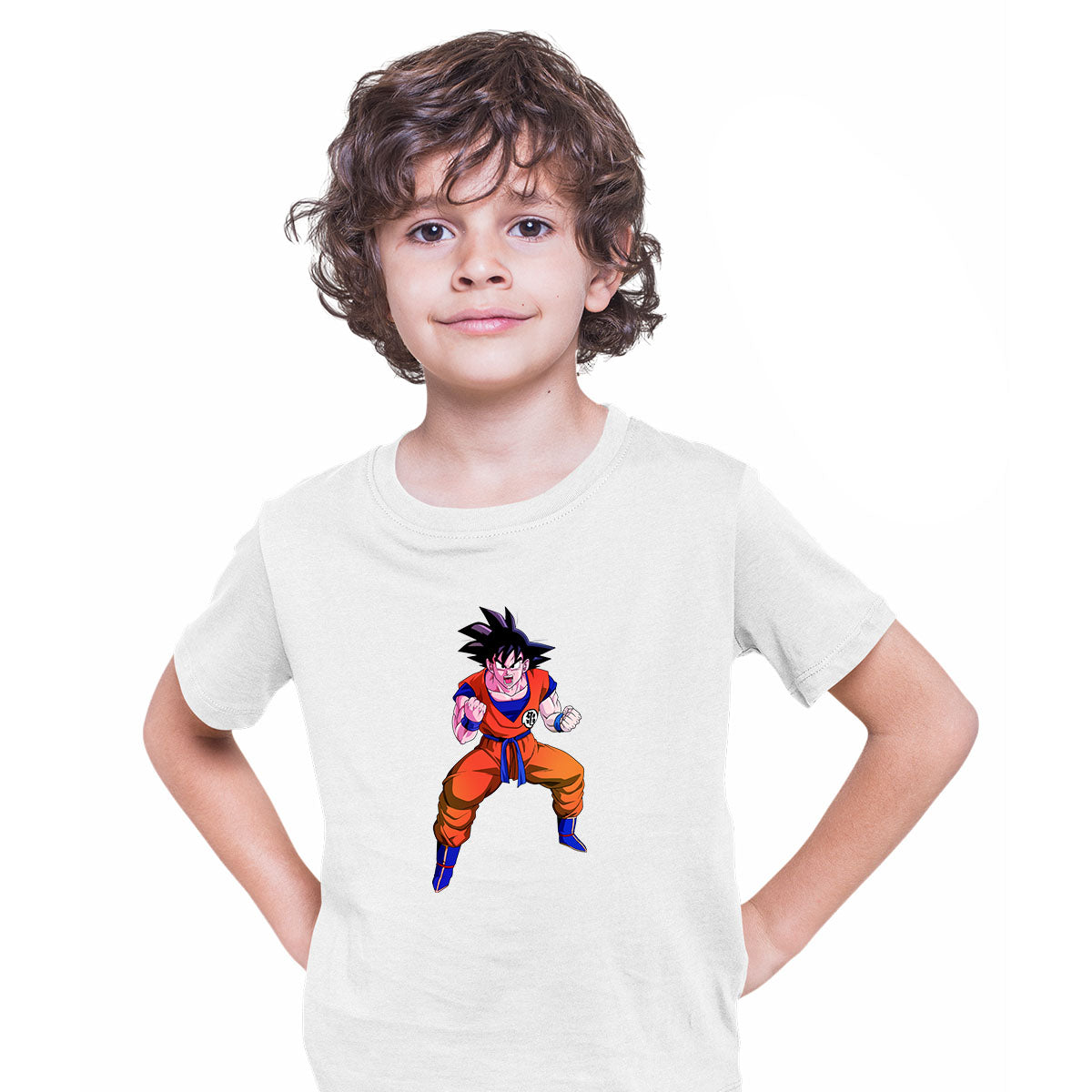 Dragon Ball Z Anime T-Shirt Goku Saiyan Power Level Bioworld White T-shirt for Kids