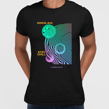 Error-404-Stay Chill Clubbing Nights Abstract Surreal Elements Crew Neck Black T-shirt