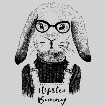 Funny Hipster Bunny Hand Drawn Animal White T-shirt
