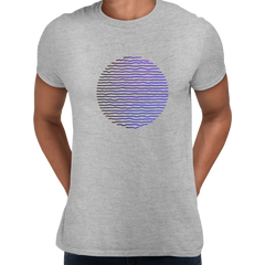 Futuristic Circular Wave Gradient Sphere Liquid 3D Defect Unisex Male Grey T-shirt
