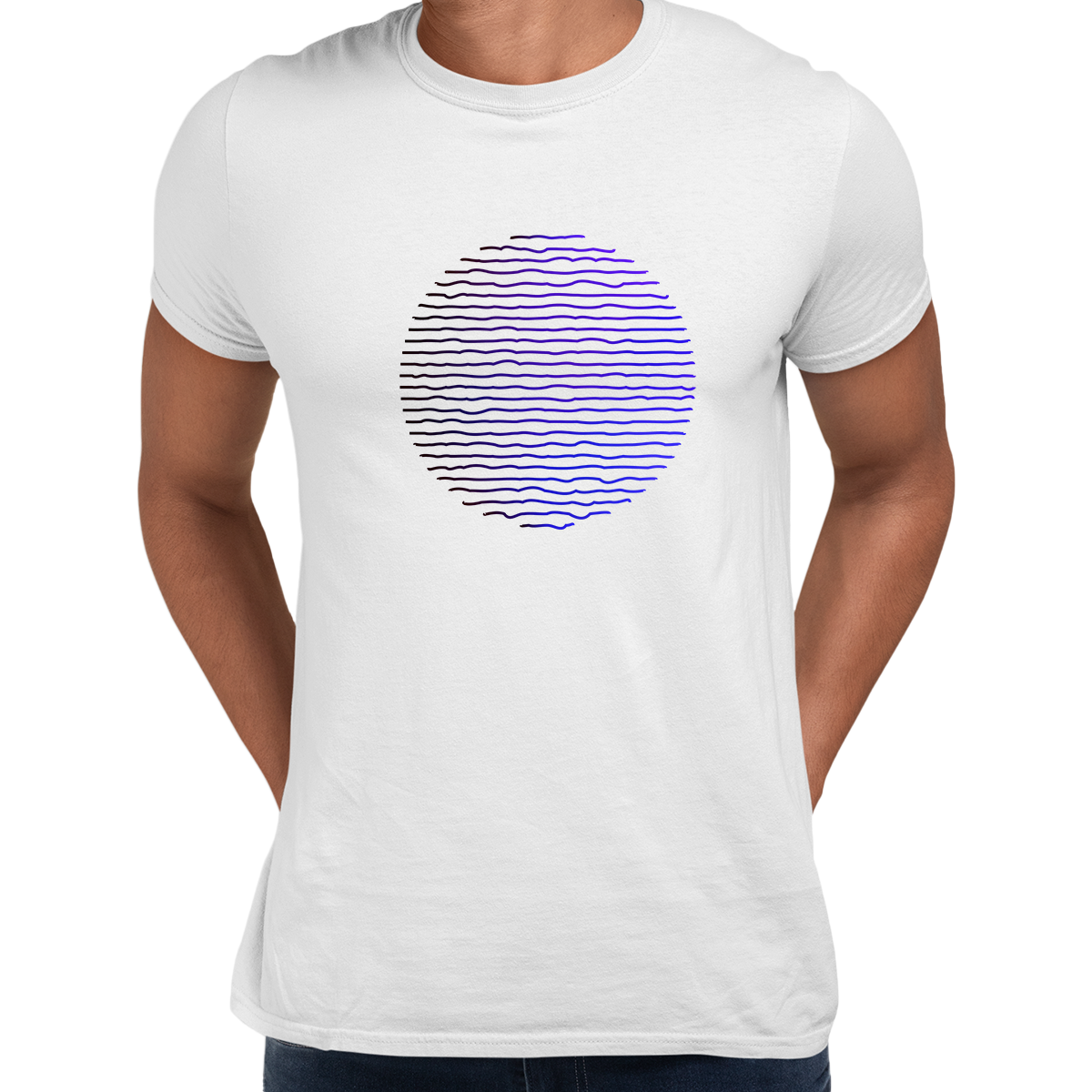 Futuristic Circular Wave Gradient Sphere Liquid 3D Defect Unisex Male White T-shirt
