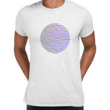 Futuristic Circular Wave Gradient Sphere Liquid 3D Defect Unisex Male Black T-shirt