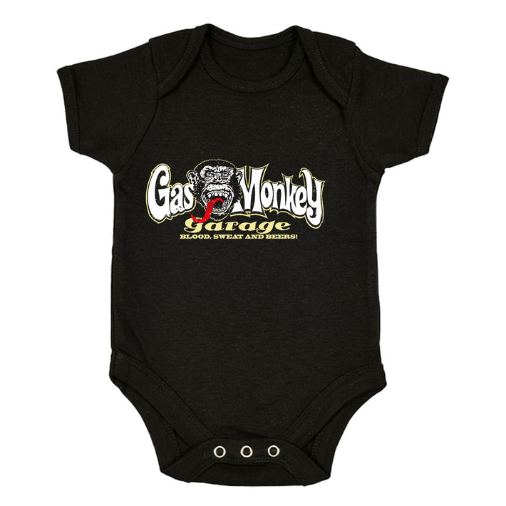 Gas Monkey Garage Blood Sweat and Beers Licensed Fast Loud Black Baby & Toddler Body Suit